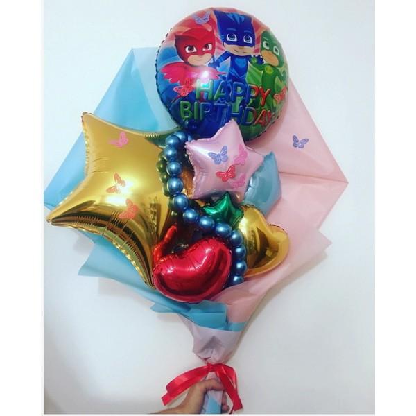 Крафтовый букет из воздушных шаров С Днем Рождения!