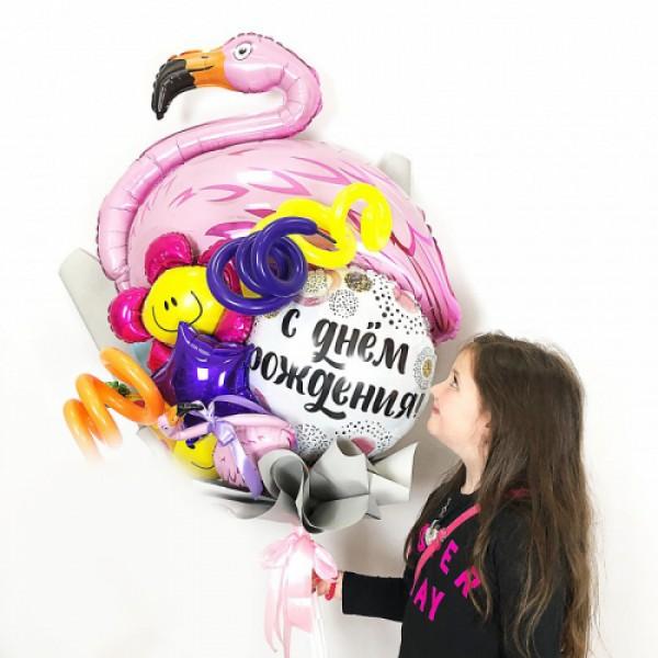Крафтовый букет из воздушных шаров Фламинго!