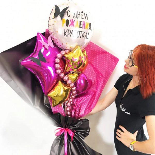 Крафтовый букет из воздушных шаров Красотка!