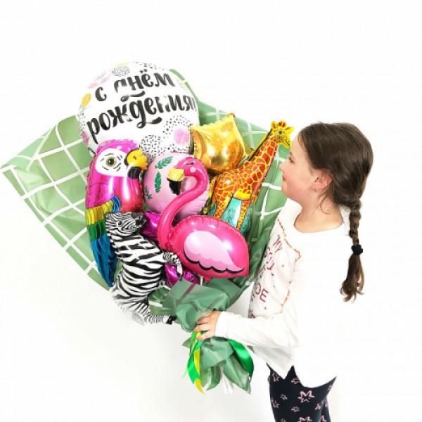 Крафтовый букет из воздушных шаров Зверята!