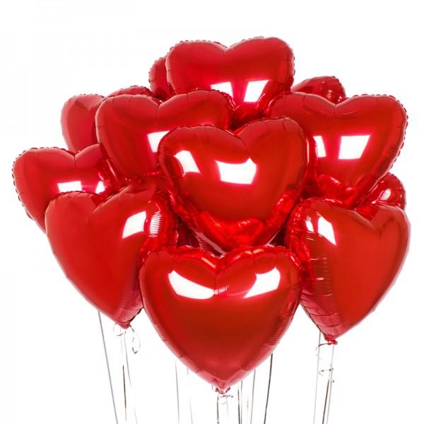 Воздушные шарики .Красные сердца ( 18/46 см )