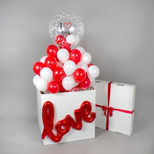 """Коробка сюрприз с воздушными шарами  """" Любовь"""""""
