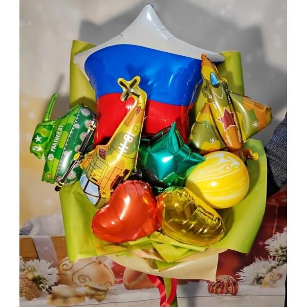 """Крафтовый букет из воздушных шаров  """" Триколор """""""