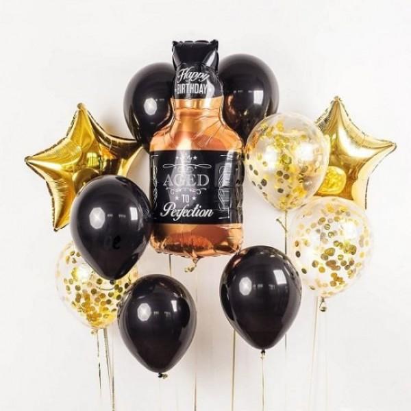 """Букет из воздушных шаров """" Бутылка Виски """""""