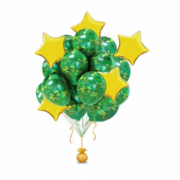 """Букет из воздушных шаров """"Камуфляж в золотом """""""
