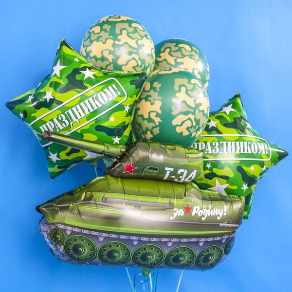 """Букет из воздушных шаров """"Танк в зеленом """""""