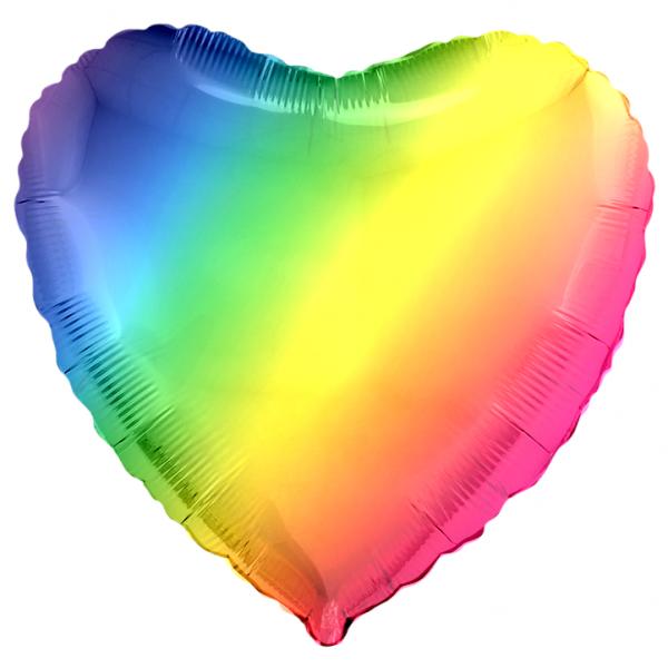Шар фольгированный Сердце, Градиент, (18/46 см) 1 шт.