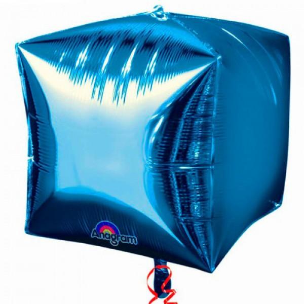 Шар фольгированный 3D Куб Синий 24/61 см
