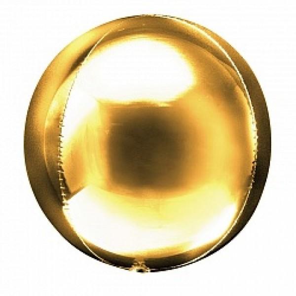 Шар фольгированный 3D Сфера Золото 24/61 см