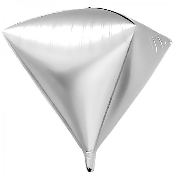 Шар фольгированный 3D Алмаз Серебро 24/61 см