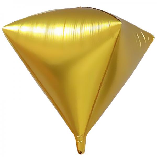Шар фольгированный 3D Алмаз Золото 24/61 см