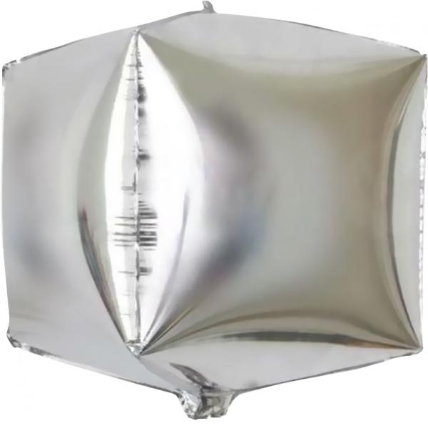 Шар фольгированный 3D Куб Серебро 24/61 см