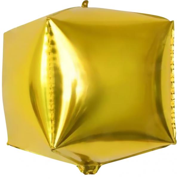 Шар фольгированный 3D Куб Золото 24/61 см