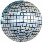 Шар фольгированный Сфера 3D,  Диско серебро, Голография  (24/61 см)