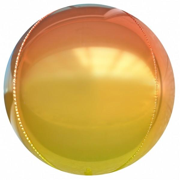 Шар фольгированный  Сфера 3D, Градиент, Оранжевый  (24/61 см)