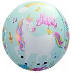 Шар фольгированный Сфера 3D, С Днем Рождения Волшебные единороги  (24/61 см)