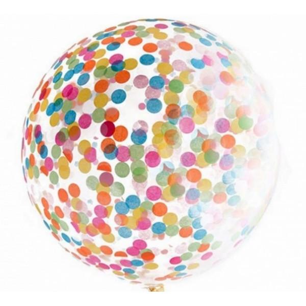 Шар прозрачный Bubble 65 см. с конфетти ассорти (круги)