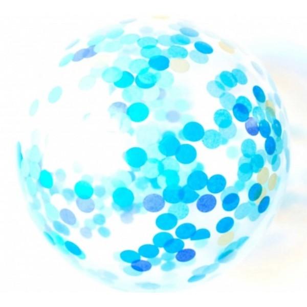 Шар прозрачный Bubble 65 см. с конфетти бирюза (круги)