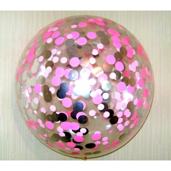 Шар прозрачный Bubble 65 см. с конфетти розовые