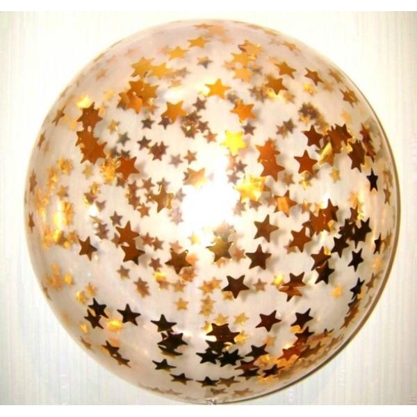 Шар прозрачный Bubble 65 см. с конфетти золотые звезды