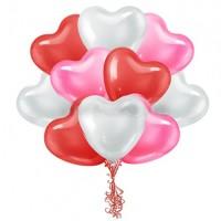 Облако из воздушных шариков «Сердца Ассорти»
