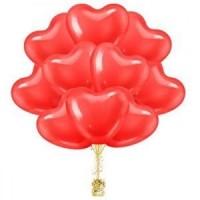 """Облако из воздушных шаров """"  Красные сердца """""""