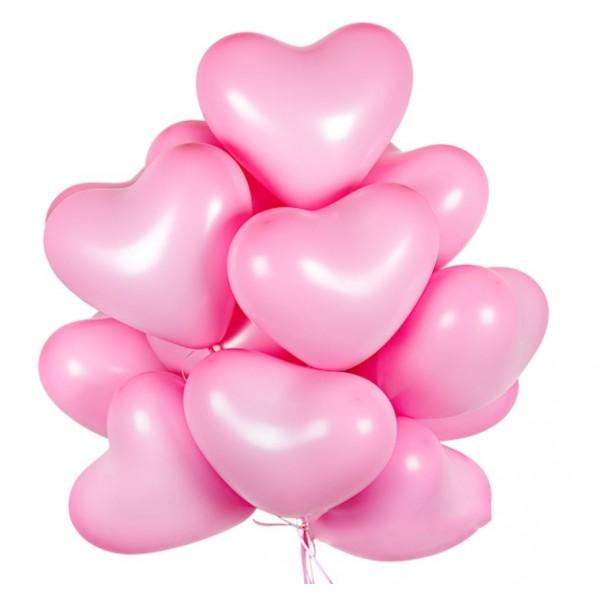 """Облако из воздушных шаров """"  Розовые сердца """""""