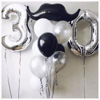 Композиция из воздушных шариков Строгий День Рождения