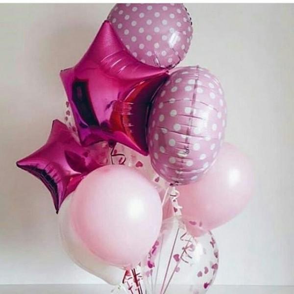 Букет из воздушных шариков Розовый горошек