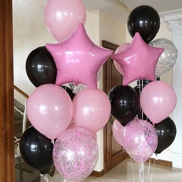 Фонтан из воздушных шариков Розовый  черным