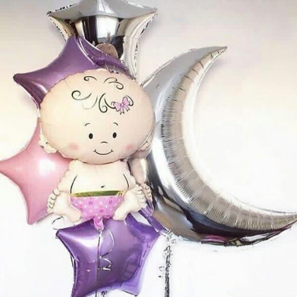 Букет из воздушных шариков На выписку малышки