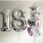 Букет из воздушных  шариков Цифры с фонтаном
