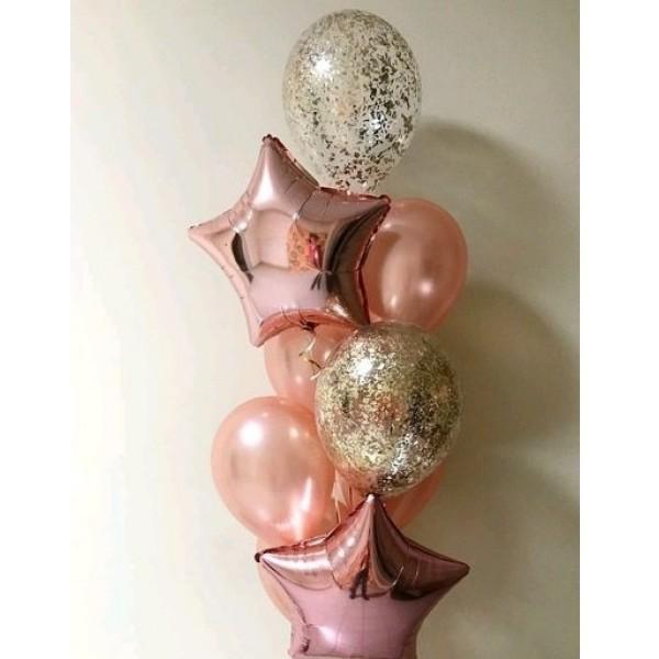 Букет из воздушных  шариков Розовое Золото