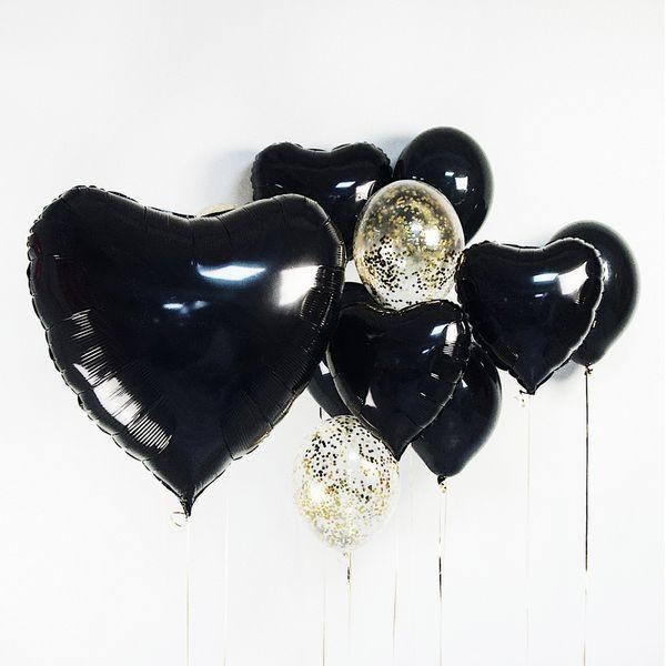 Букет из воздушных шариков черный с конфетти Большое сердце