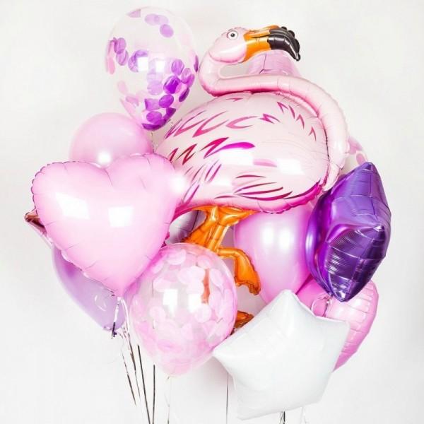 Букет из воздушных  шариков Красочный Фламинго
