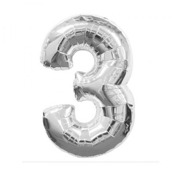 Цифра 3 Серебро (100см)