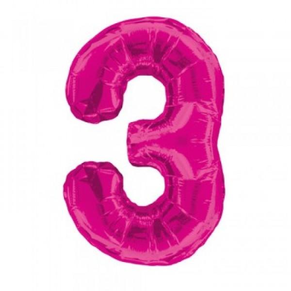Цифра 3 Розовая (100см)