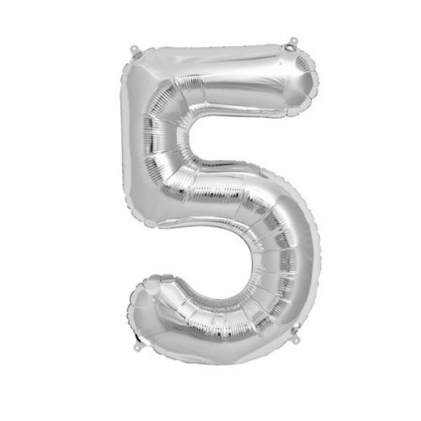 Цифра 5 Серебряная (100см)