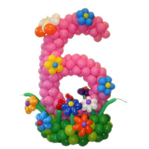 Цифра из воздушных шаров 6