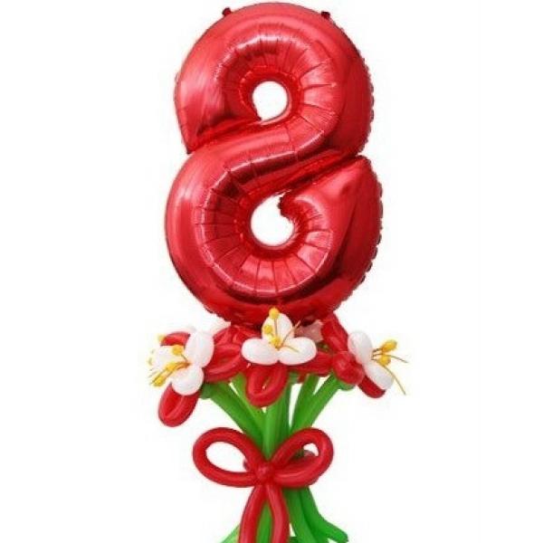 Цифра 8(красная) фольгированная в букете