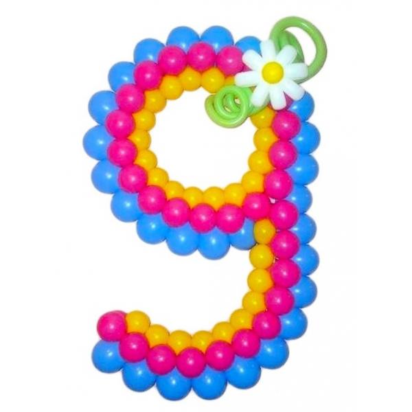 Цифра из воздушных шаров 9
