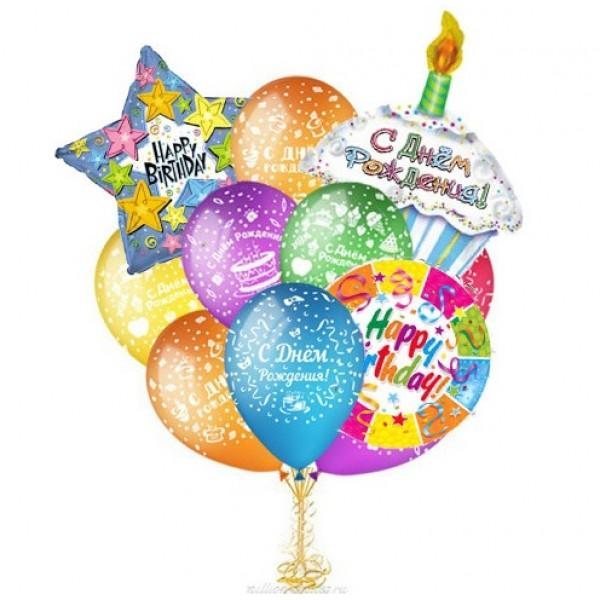 Букет из воздушных  шариков  День Рождения пироженки