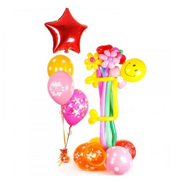 Фигура из воздушных шариков Мальчик с цветами и фонтаном