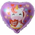 Шар фольгированный Сердце, с рисунком, (18/46 см) 1 шт.