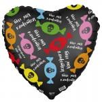 Шар фольгированный Сердце, с надписью (18/46 см) 1 шт.