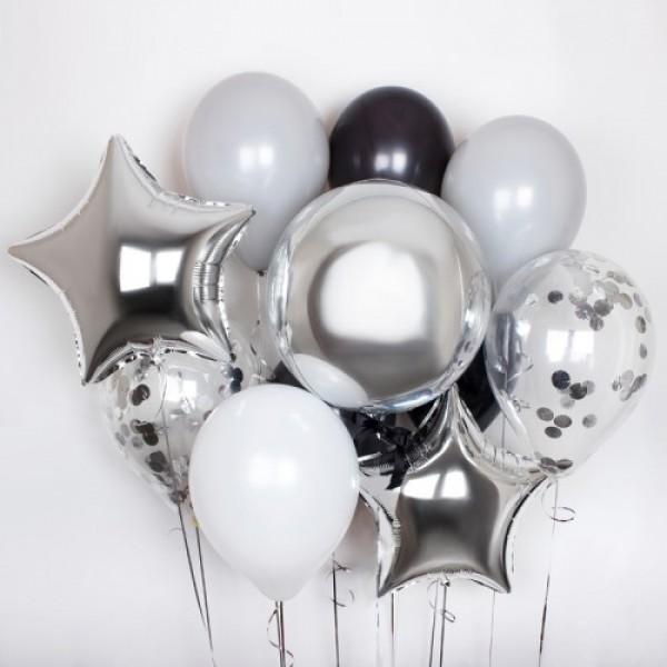 Букет из воздушных шариков  Серебро с конфетти