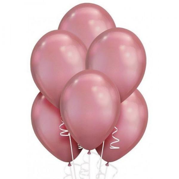 """Облако из воздушных шариков """" Хром. Розовые """""""