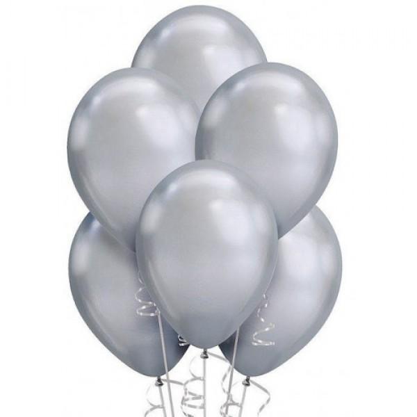 """Облако из воздушных шариков """" Хром. Серебро """""""