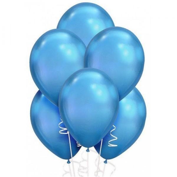 """Облако из воздушных шариков """" Хром. Голубые """""""