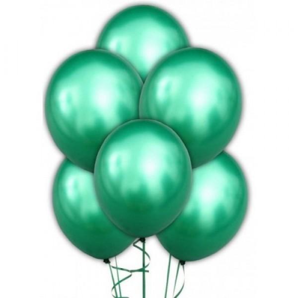 """Облако из воздушных шариков """" Хром. Зеленые """""""